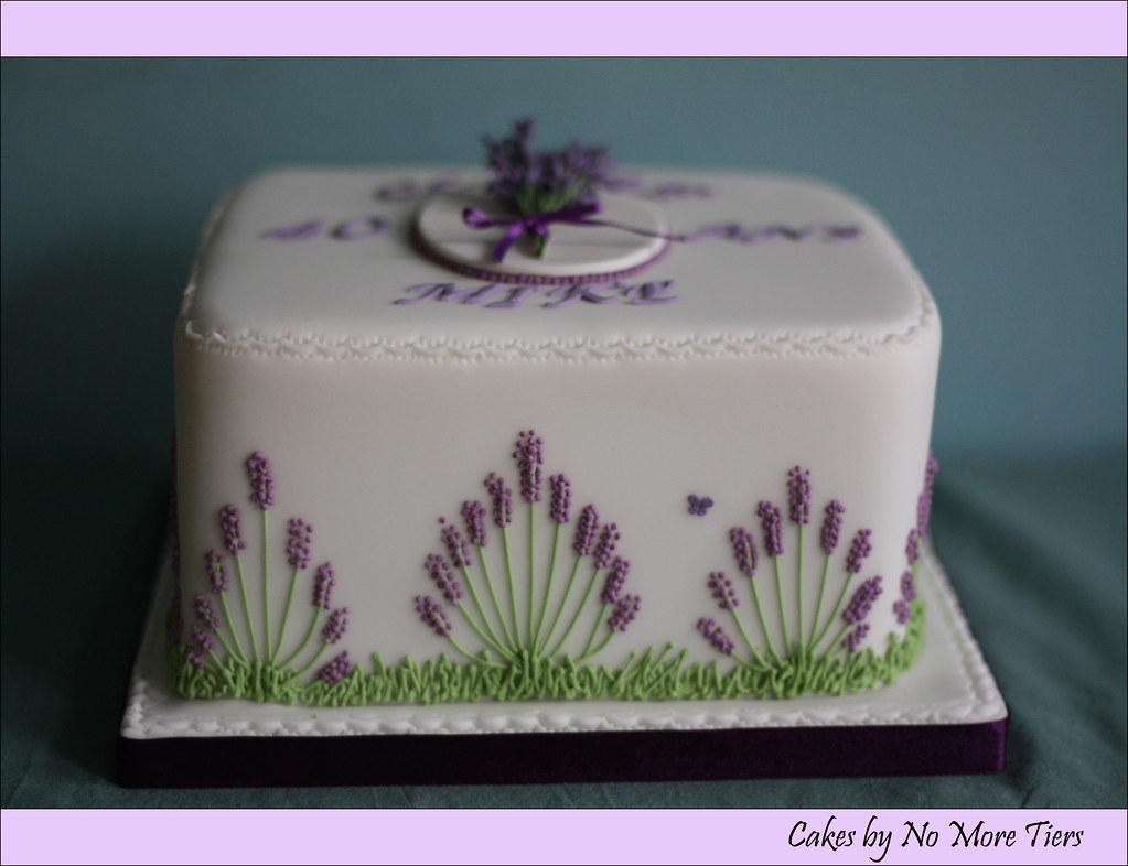 Lavender cake side design with border - a photo on Flickriver