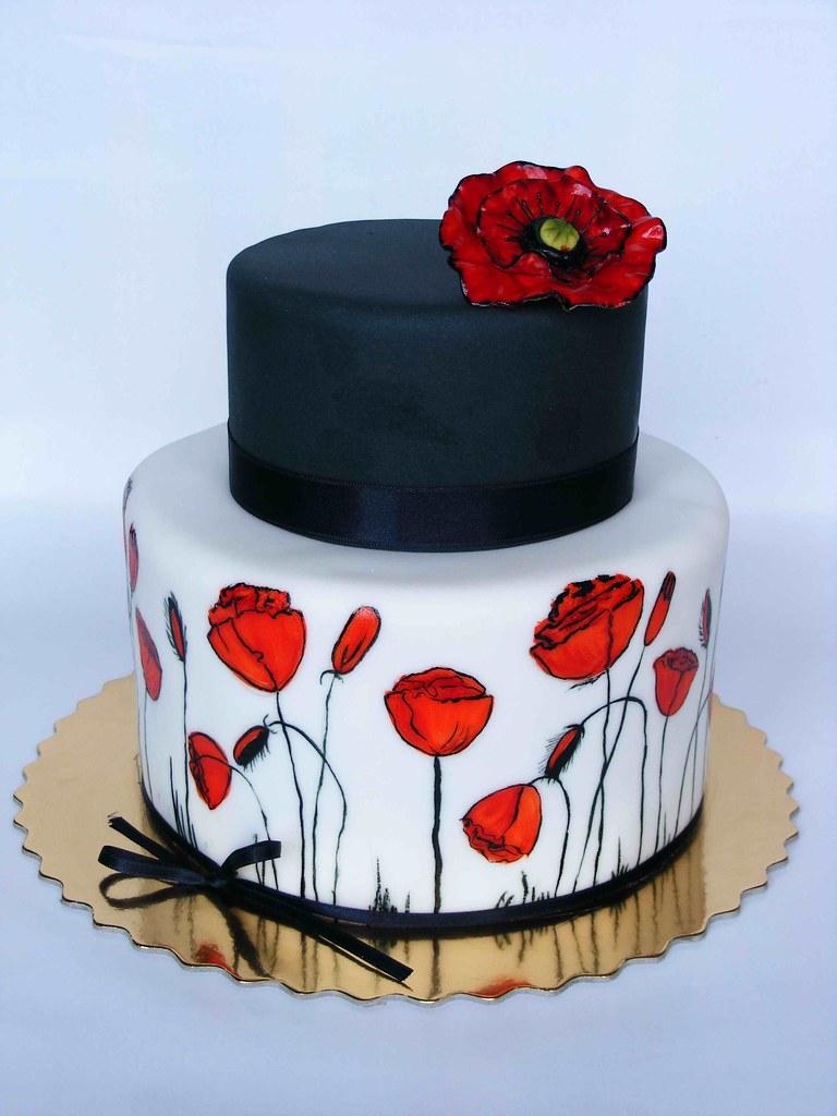 Poppy Rose Cake Design : Black, white and red poppy cake Flickr - Photo Sharing!