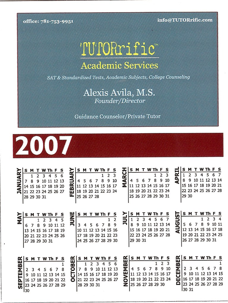 TUTORrific Academic Services Calendar