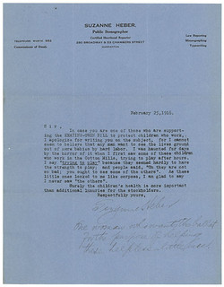 Letter from Suzanne Heber Supporting Keating-Owen Child Labor Bill, 02/25/1916