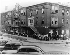 Ohio University Howard Hall men waiting in line, ca1948