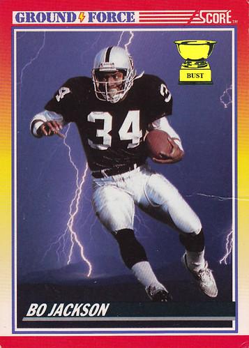 Baseball Card Bust Bo Jackson 1990 Score Ground Force Football