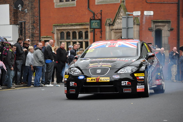 Tom Boardman's Special Tuning Racing SEAT Leon on the streets of Ormskirk