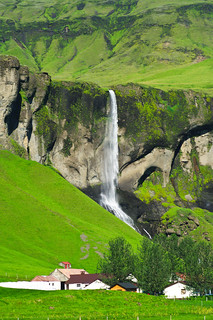 Waterfall and farm