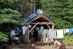 Clothes drying at the Bangsund Cabin --Peterson/MTU wolf moose study program - Isle Royale National Park, Michigan