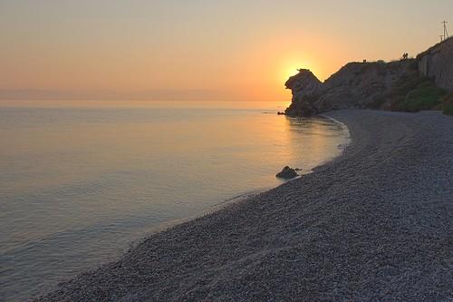 morning sea sun beach yellow rock sunrise golden coast shore serenity hdr peloponnese pentaxkx calmsea obscuring peloponnisos korinthiakos corinthiangulf