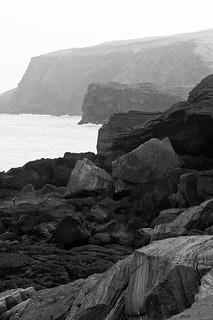 Rugged cliffside vista (B&W)
