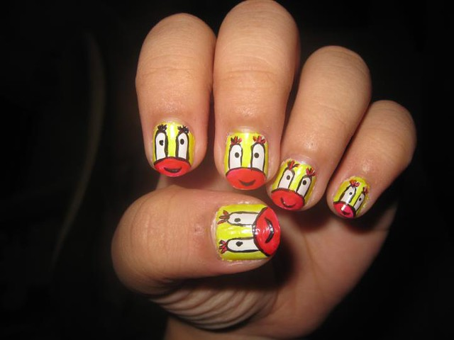 nail art design Mr. Krabs Spongebob character