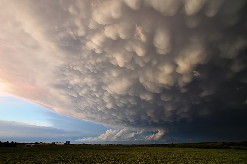 sunset clouds nebraska farm thunderstorm mammatus