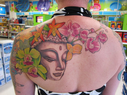 tattoo, budha, orchids, green IMG_7537