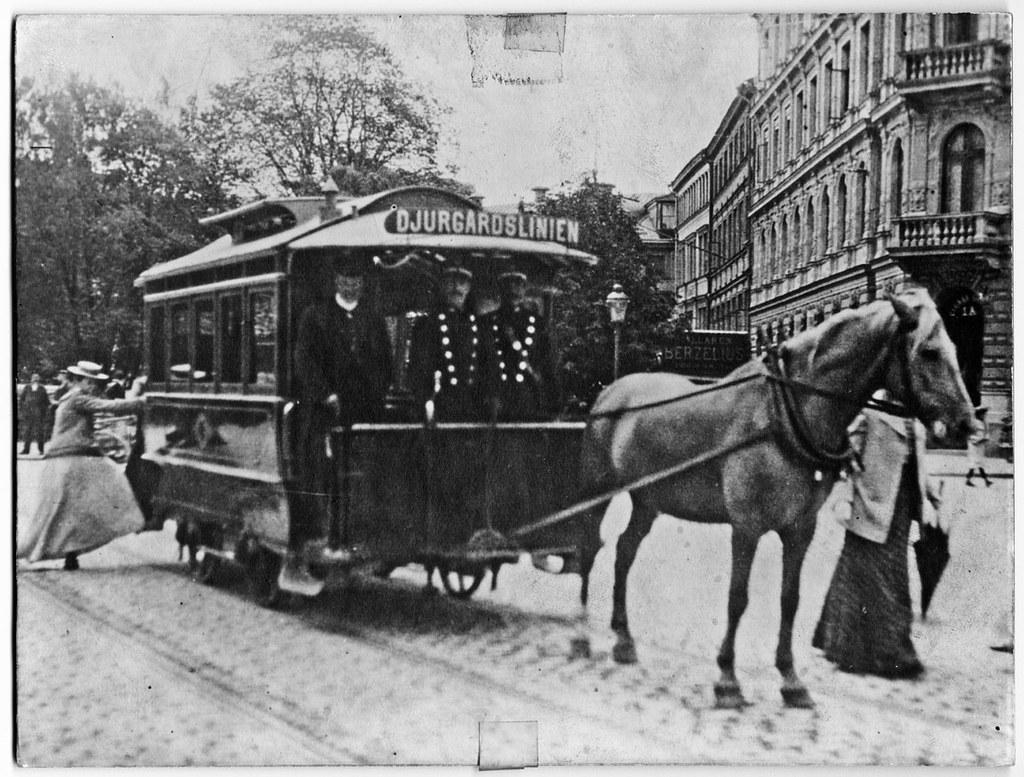 Horse Drawn Tram In Stockholm Around 1900 H 228 Stsp 229 Rvagn
