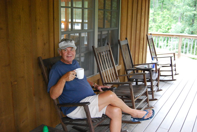 Sit a spell on the porch at Occoneechee State Park Cabin #8