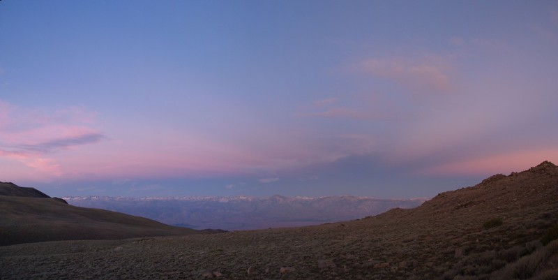 Sunrise over the eastern Sierra Nevada.
