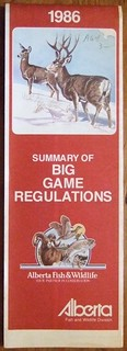 ALBERTA 1986 ---SUMMARY OF BIG GAME REGULATIONS