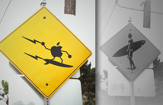 Apple Surfer Crossing Sign