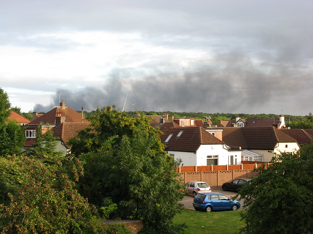 Smoke over Epping Forest, London, August 2011