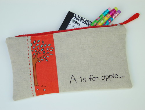 a is for apple pencil pouch