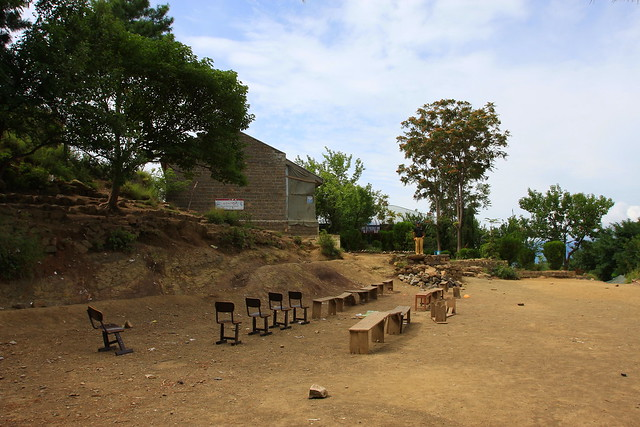 School open air classroom near Sanga village, Bagh district, Kashmir