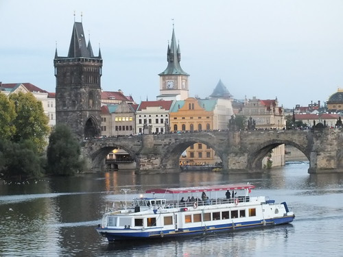 A boat travelling on the River Vltava, Prague.