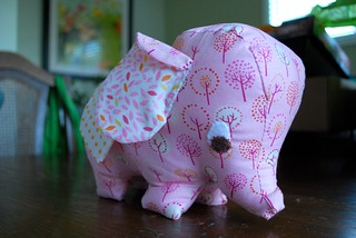 Elephant pattern from Joelle Hoverson's book 'Last-Minute Patchwork + Quilted Gifts', a Wee Wonderfuls pattern (Peanut, the Wee Elephant)