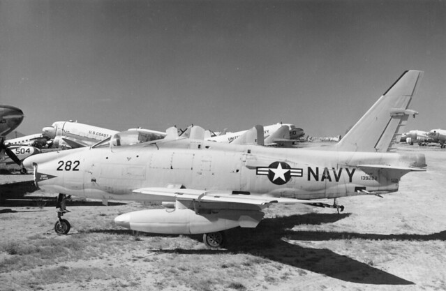 "North American FJ-4F ""Fury"" (prototype) retired at NAF Litchfield Park, 1960."