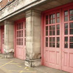 Former West Midlands Fire Service Headquarters building - fire engine doors