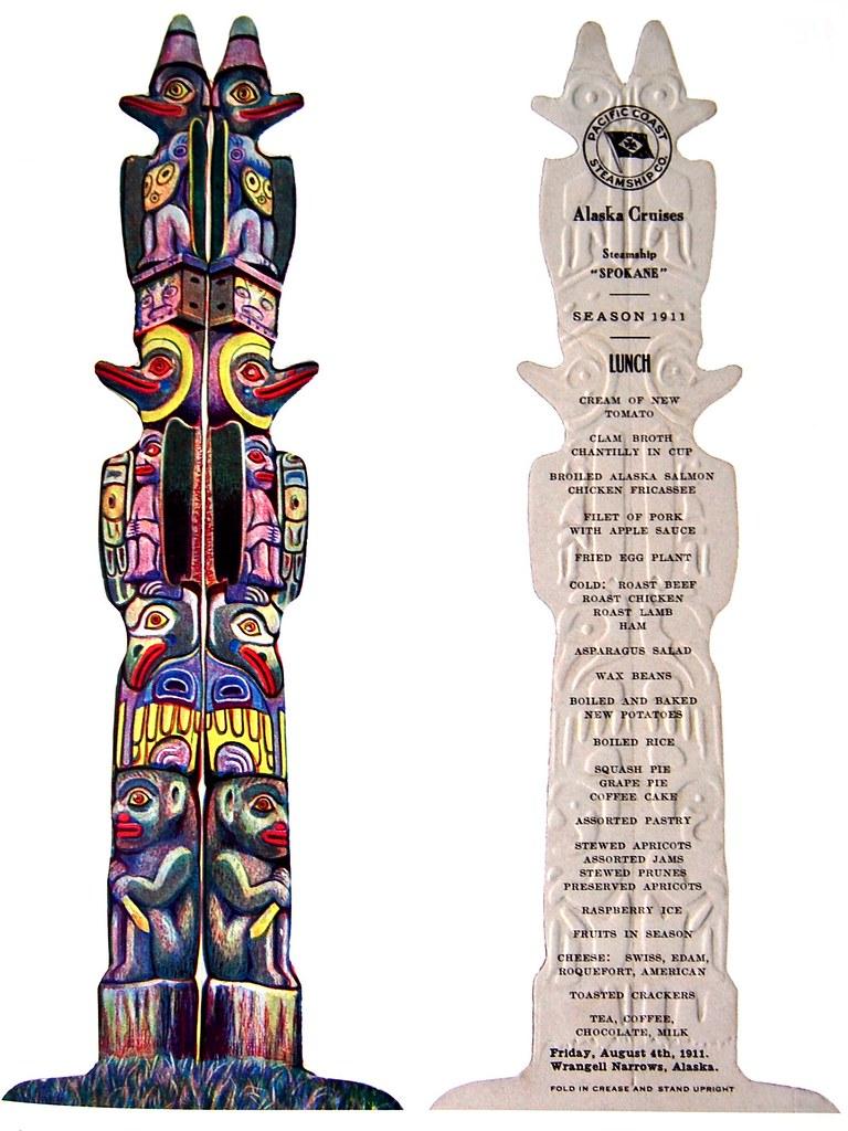 1911 totem pole shaped menu from Steamship 'Spokane' of the Pacific Coast Steamship Company