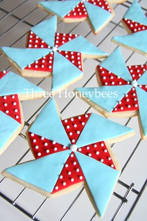 Red and Aqua Pinwheel Cookies