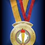 The Gold Medal awarded at the 1971 6th quadrennial Pan-American Games, Cali, Colombia. One of these awarded medals was the only gold medal that Steve Prefontaine won in an International Olympic Committee-sanctioned games