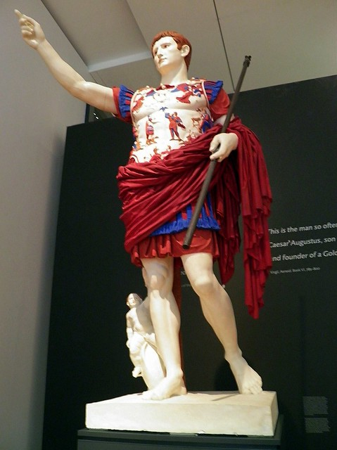 The Augustus from Prima Porta (plaster) painted as it would have looked when first created around 20 -15 BC, Ashmolean Museum