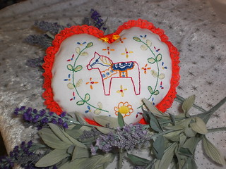 Dala Horse Lavendar Heart Pillow