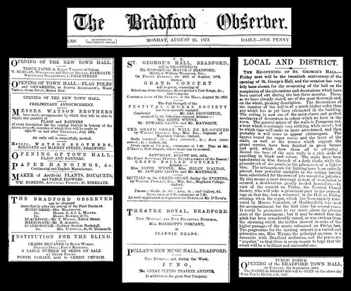 Bradford Observer - 25th August 1873 - St George's Hall re-opened | by Bradford Timeline