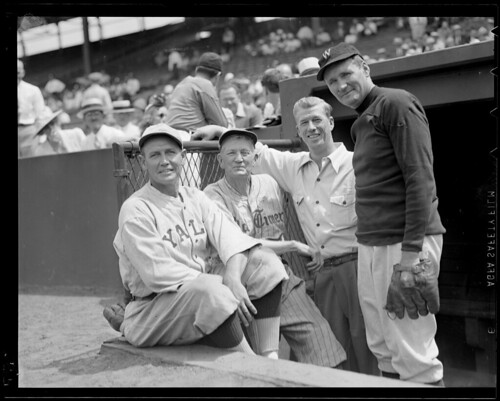 Cy Young, Lefty Grove, Walter Johnson at Old-Timers' Game at Fenway