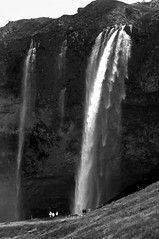 Waterfall with Tourists (B&W)