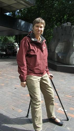 Julia with her walk stick