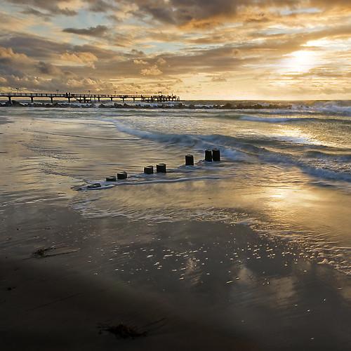 sunset jetty balticsea darss wustrow