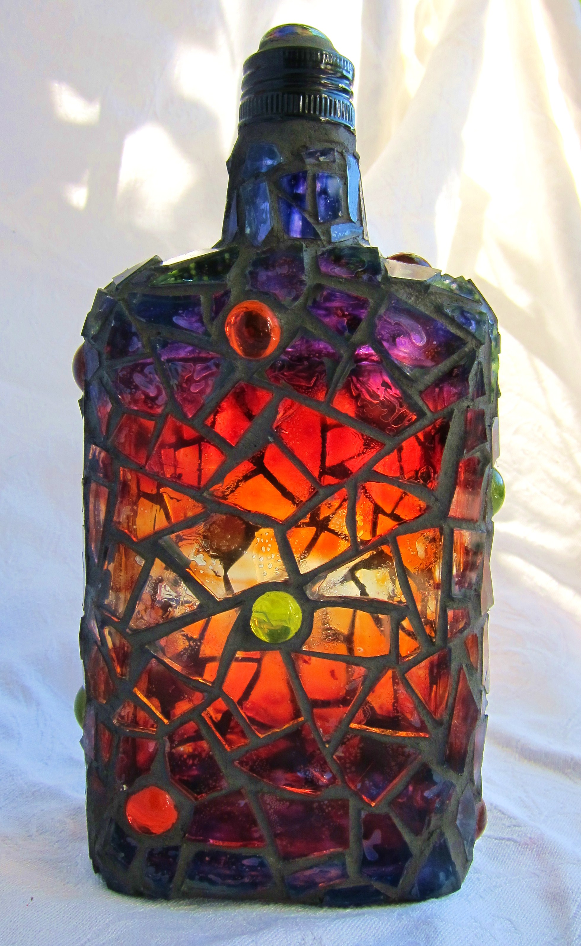 Painted mosaic bottle flickr photo sharing for How to stain glass jars with paint