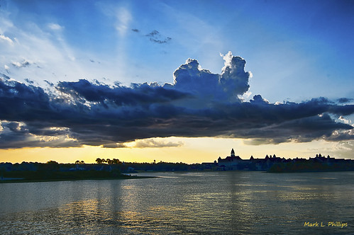 sunset lake clouds hotel florida disney manmade magickingdom grandfloridian sevenseaslagoon nikond40