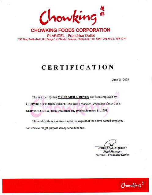 FAST FOOD Chowking pla. cert   Flickr - Photo Sharing!