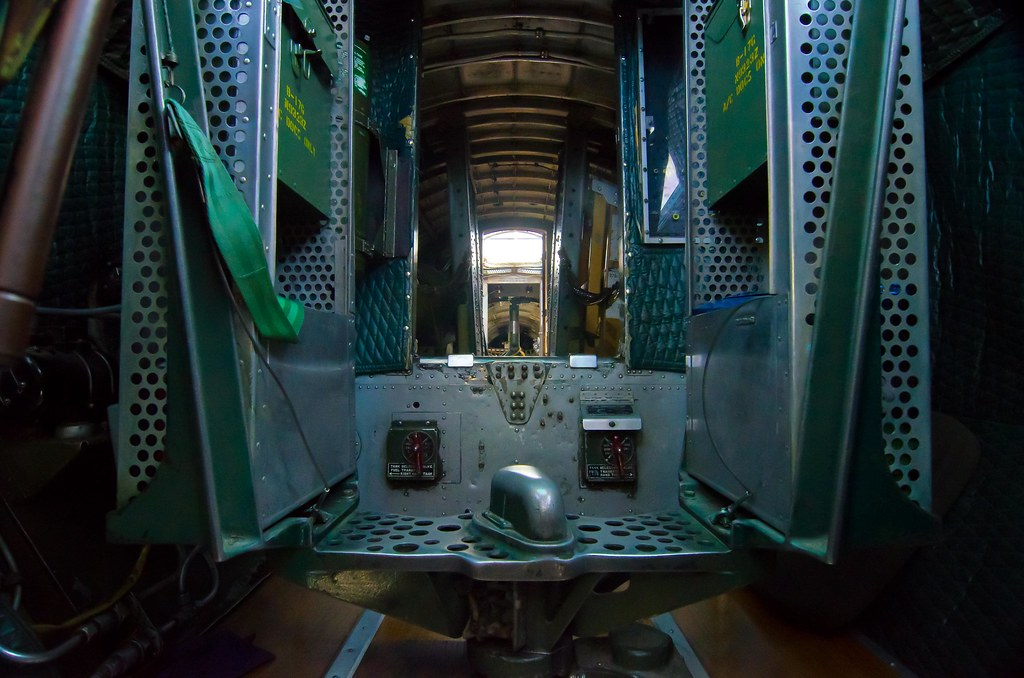 Looking down the bomb bay