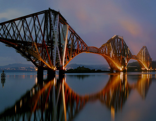 longexposure reflection water sunrise dawn scotland fife railway forth forthbridge queensferry panasonicg1