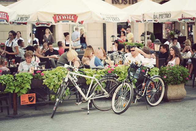 street cafe in krakow