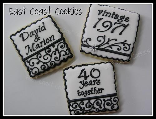 40th Wedding Anniversary cookies