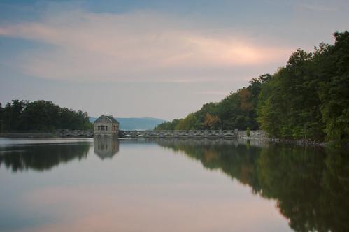 lake reflection water long exposure dam pa scranton lackwana