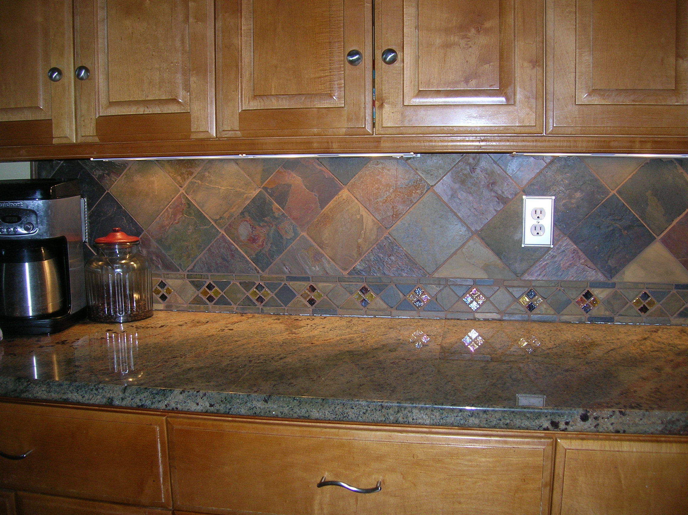 Kitchen backsplash, 4  slate tile on point  Flickr  Photo Sharing!