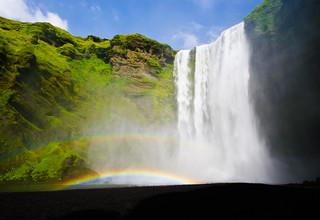 Selfoss Waterfall with double rainbow