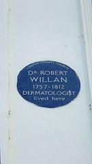 Photo of Robert Willan blue plaque