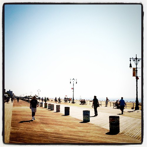 I've got to spend more time at Coney Island; the mornings are so peaceful here on the boardwalk.