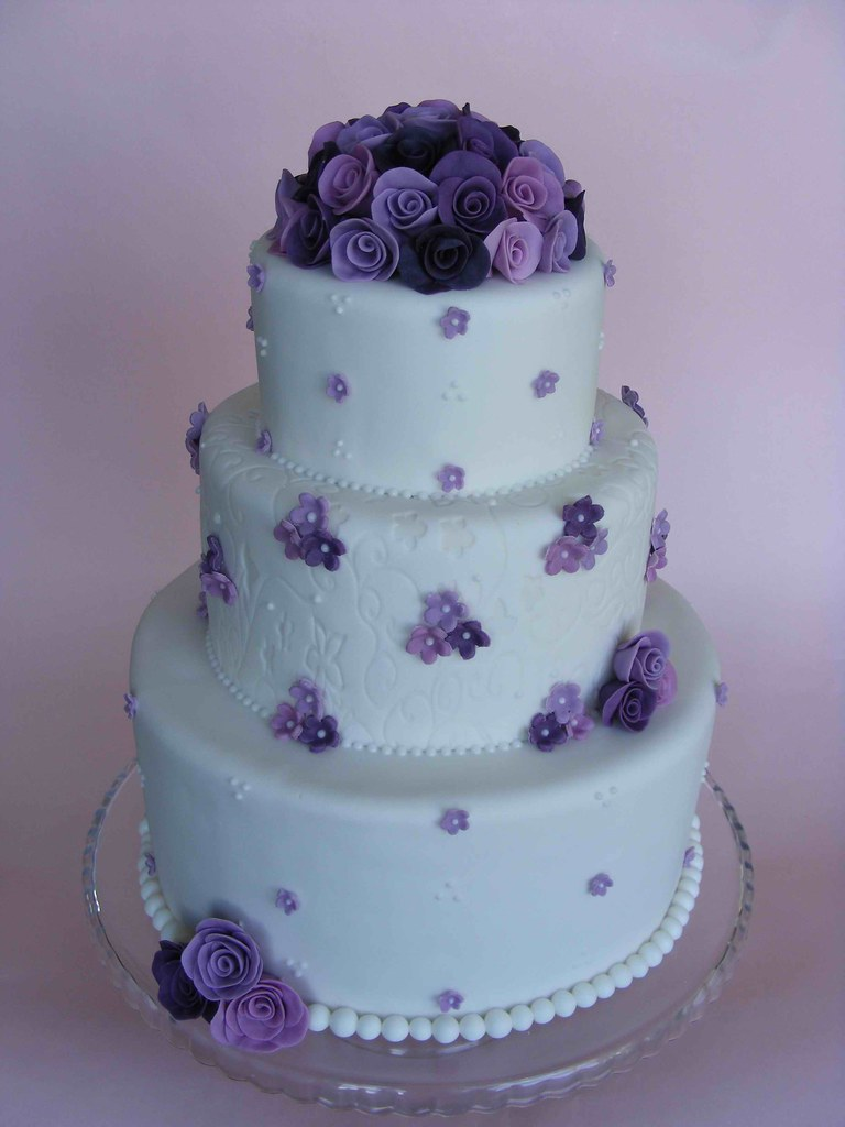 Purple Roses Wedding Cake A Photo On Flickriver