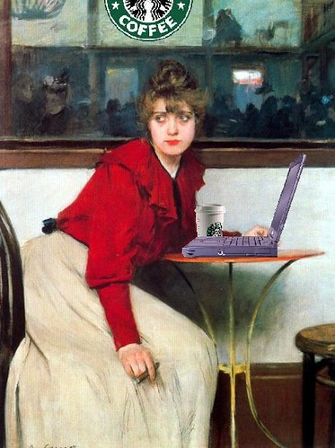 Young Girl Blogging, after Ramon Casas i Carbó